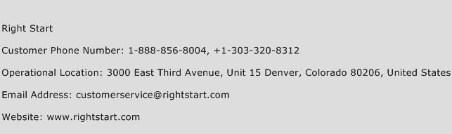 Right Start Phone Number Customer Service