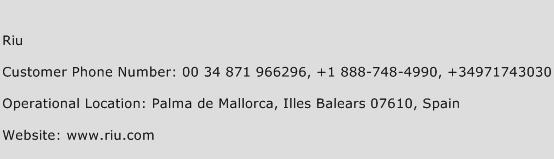 Riu Phone Number Customer Service