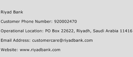 Riyad Bank Phone Number Customer Service