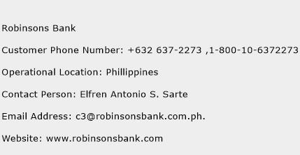 Robinsons Bank Phone Number Customer Service