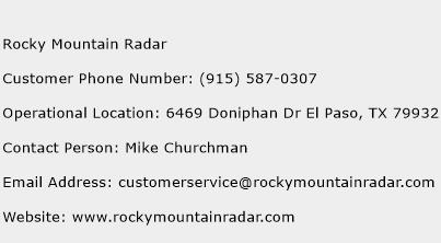 Rocky Mountain Radar Phone Number Customer Service