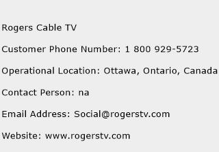 Rogers Cable TV Phone Number Customer Service