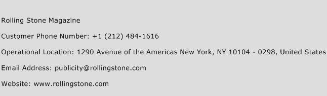 Rolling Stone Magazine Phone Number Customer Service