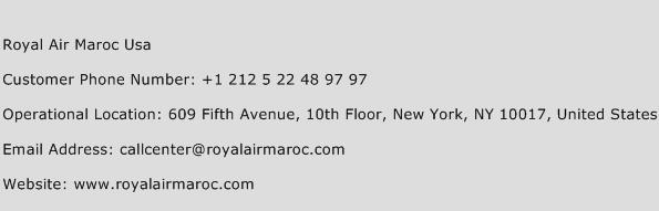 Royal Air Maroc USA Phone Number Customer Service