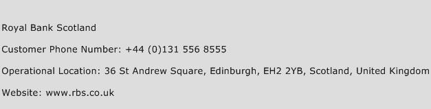 Royal Bank Scotland Phone Number Customer Service