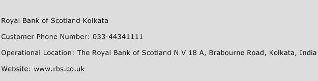 Royal Bank of Scotland Kolkata Phone Number Customer Service