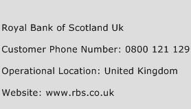 Royal Bank of Scotland Uk Phone Number Customer Service