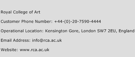 Royal College of Art Phone Number Customer Service