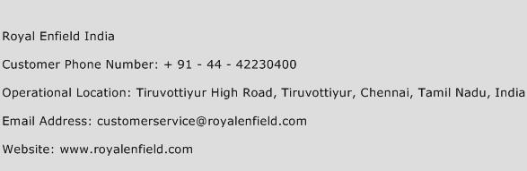Royal Enfield India Phone Number Customer Service