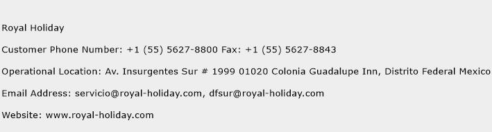 Royal Holiday Phone Number Customer Service