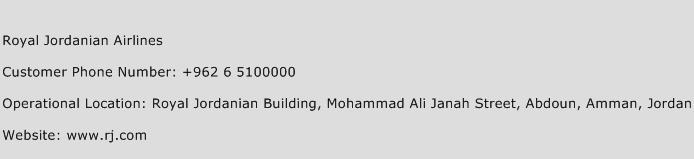 Royal Jordanian Airlines Phone Number Customer Service