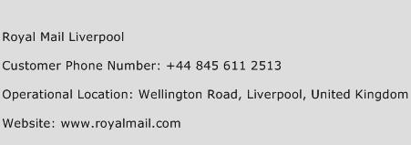 Royal Mail Liverpool Phone Number Customer Service