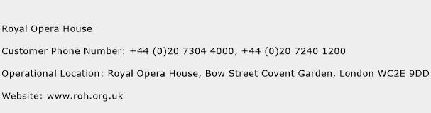 Royal Opera House Phone Number Customer Service