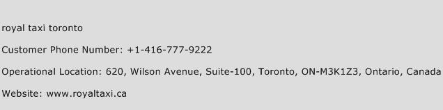 Royal Taxi Toronto Phone Number Customer Service
