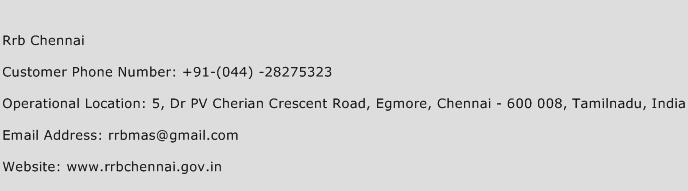 Rrb Chennai Phone Number Customer Service
