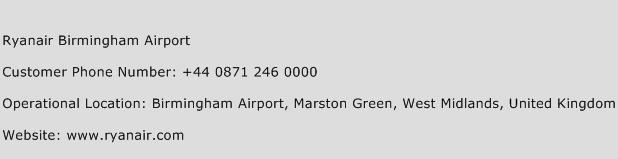 Ryanair Birmingham Airport Phone Number Customer Service