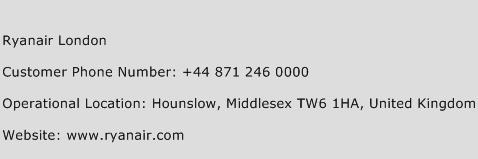 Ryanair London Phone Number Customer Service