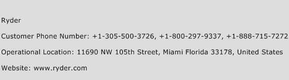 Ryder Phone Number Customer Service