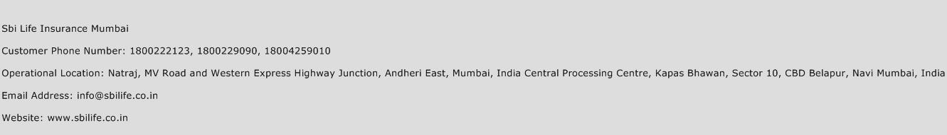 SBI Life Insurance Mumbai Phone Number Customer Service