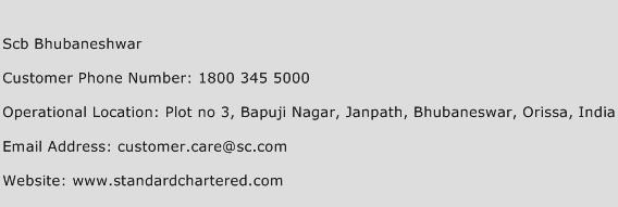 SCB Bhubaneshwar Phone Number Customer Service