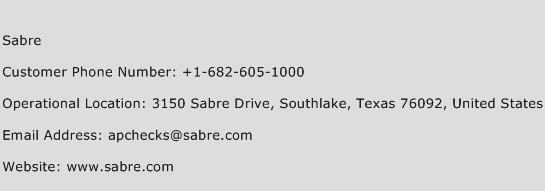 Sabre Phone Number Customer Service
