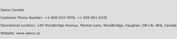 Saeco Canada Phone Number Customer Service