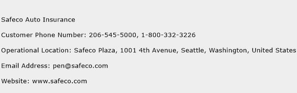 Safeco Auto Insurance Phone Number Customer Service