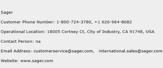 Sager Phone Number Customer Service