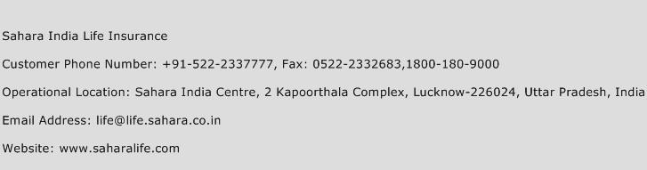 Sahara India Life Insurance Phone Number Customer Service
