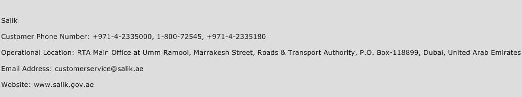 Salik Phone Number Customer Service