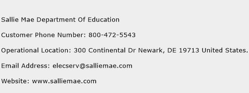Sallie Mae Department Of Education Phone Number Customer Service