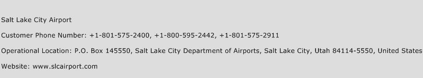Salt Lake City Airport Phone Number Customer Service