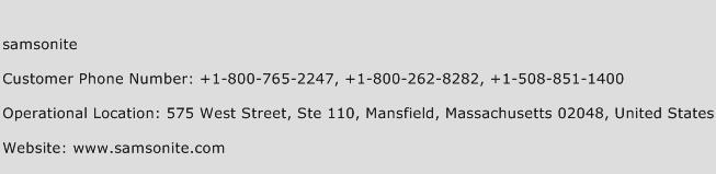 Samsonite Phone Number Customer Service