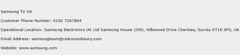 Samsung TV UK Phone Number Customer Service