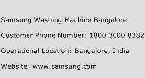 Samsung Washing Machine Bangalore Phone Number Customer Service