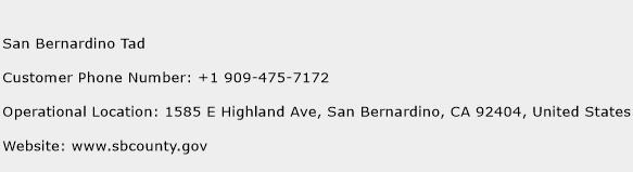 San Bernardino Tad Phone Number Customer Service
