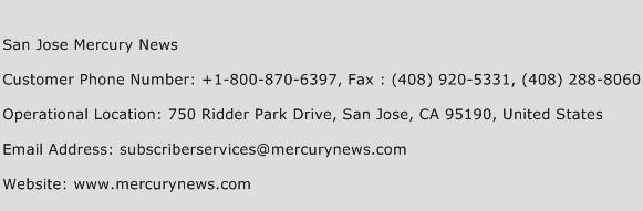 San Jose Mercury News Phone Number Customer Service