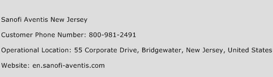 Sanofi Aventis New Jersey Phone Number Customer Service