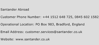 Santander Abroad Phone Number Customer Service