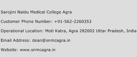 Sarojini Naidu Medical College Agra Phone Number Customer Service