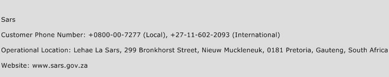Sars Phone Number Customer Service