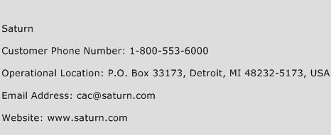 Saturn Phone Number Customer Service