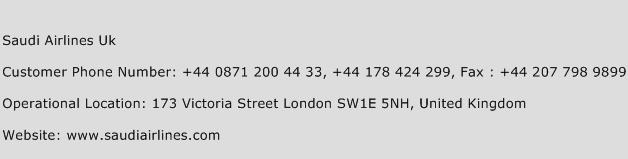 Saudi Airlines Uk Phone Number Customer Service
