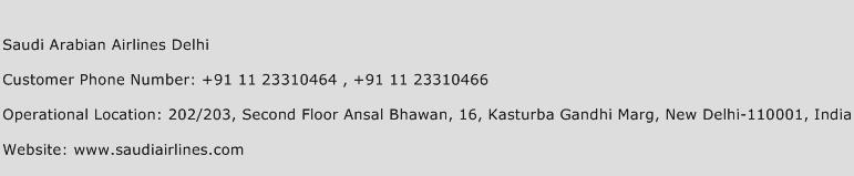 Saudi Arabian Airlines Delhi Phone Number Customer Service