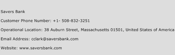 Savers Bank Phone Number Customer Service