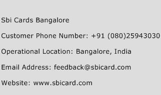 Sbi Cards Bangalore Phone Number Customer Service