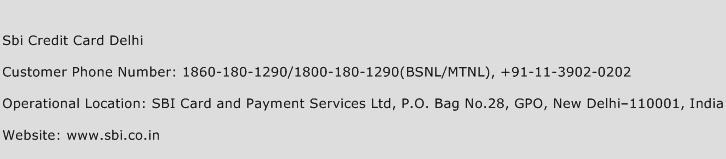 Sbi Credit Card Delhi Phone Number Customer Service