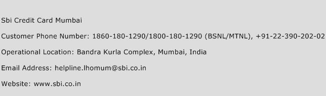 Sbi Credit Card Mumbai Phone Number Customer Service