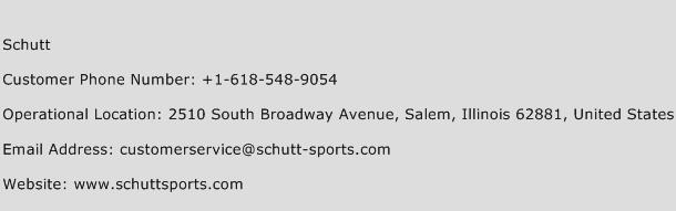 Schutt Phone Number Customer Service