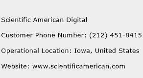 Scientific American Digital Phone Number Customer Service